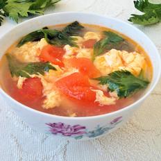 芹叶番茄鸡蛋汤