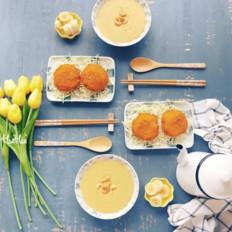 炸肉饼+番薯浓汤+香蕉 早餐日志
