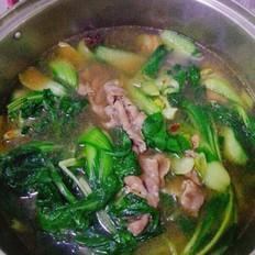 羊肉片蔬菜火锅