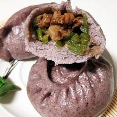 紫米青椒肉丁包子