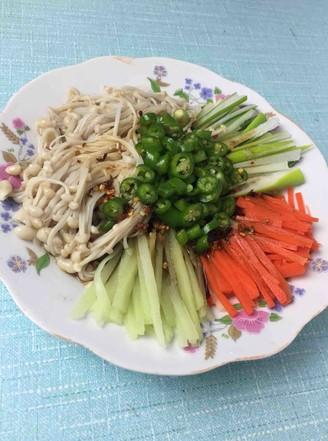 大葱拌金针菇的做法