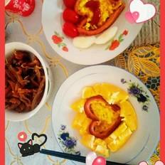 爱心鸡蛋早餐