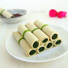 菠菜豆皮卷