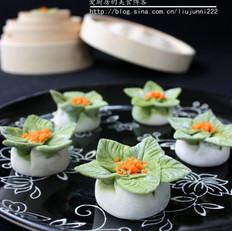 翡翠花朵蒸饺