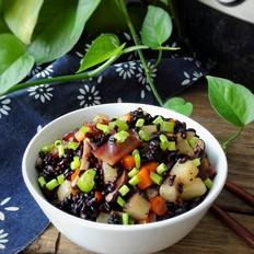 香菇腊肉黑米饭(附如何挑选和鉴别黑米)