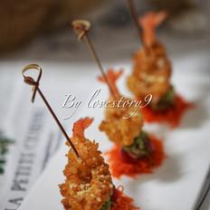 葱蒜蛋卷炸虾