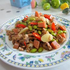 毛豆火腿炒瘦肉
