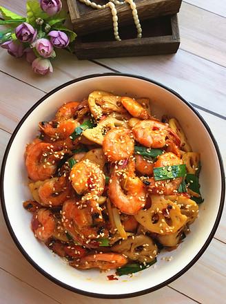 麻辣藕片虾的做法