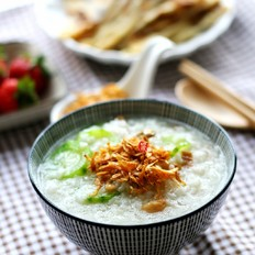 【快手早餐】虾皮丝瓜粥