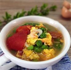 西红柿豌豆虾皮汤