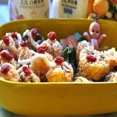 香菇酱小熊丘比沙拉便当