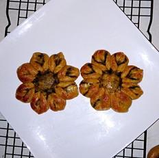 红豆沙咖啡花朵面包