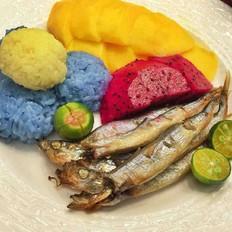 泰式五彩芒果饭+日式盐烤多春鱼