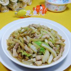 榨菜丝五花肉炒白菜