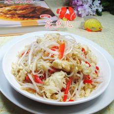 红椒鸡蛋炒绿豆芽