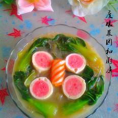 青菜粉丝丸子汤
