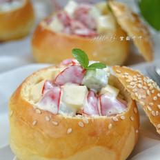 水果沙拉面包盅