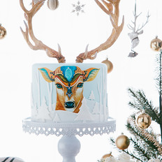 原鹿主题圣诞翻糖蛋糕