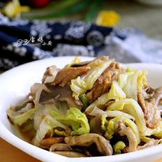 白菜肉片炒蘑菇