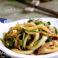 大白菜肉丝炒韭菜