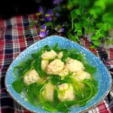 小白菜虾泥豆腐丸子汤