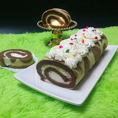 可可花奶油蛋糕卷#下午茶#