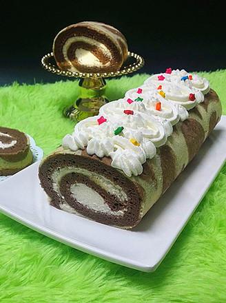 可可花奶油蛋糕卷的做法