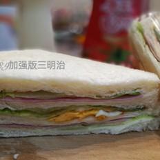 双火腿煎蛋三明治
