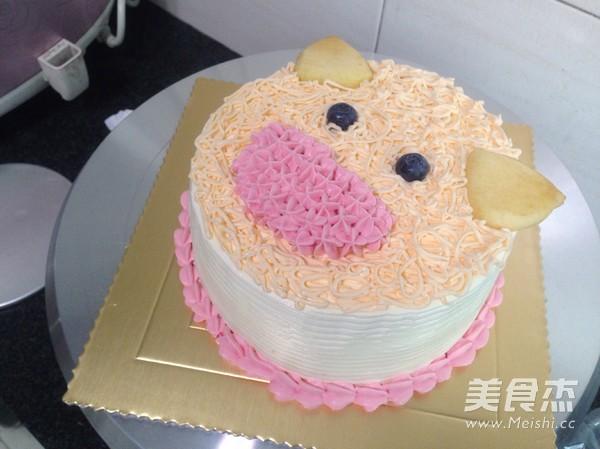 萌猪头生日蛋糕的做法