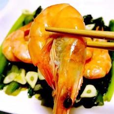 油麦菜炒虾