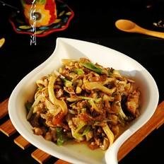 黄金菇炒肘子肉