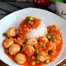 茄汁鱼丸饭