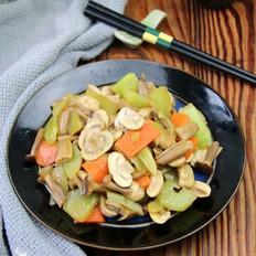 莴笋炒菌菇