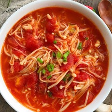 西红柿炒金针菇