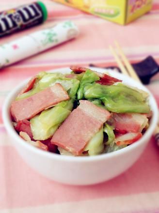 培根炒圆白菜的做法