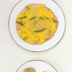 芦笋虾仁鸡蛋饼