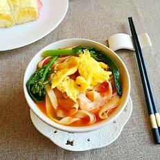 一个人的面条---西红柿炒鸡蛋青菜汤面