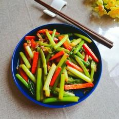蒜苔胡萝卜炒肉丝