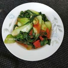 油菜炒西红柿