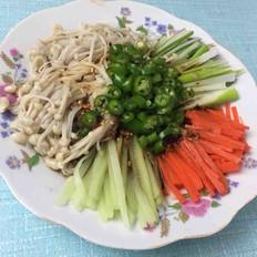 大葱拌金针菇