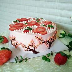 草莓花奶油蛋糕