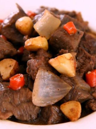 黑椒蒜子牛肉粒的做法