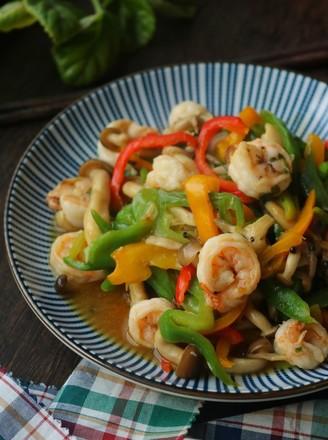 海鲜菇炒虾仁的做法