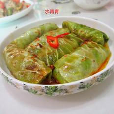香煎翠绿包菜卷