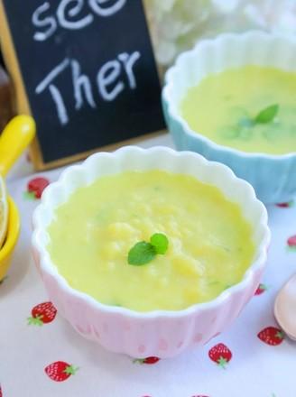 玉米汁蛋黄疙瘩汤 宝宝辅食食谱的做法