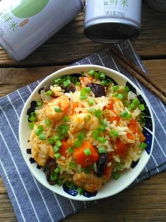 南瓜虾仁焖饭的做法