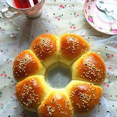 蜜豆花朵面包#下午茶#