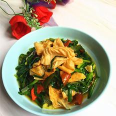韭菜炒油豆皮#午餐#