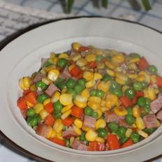 青豆玉米炒火腿丁