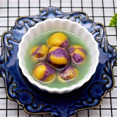 紫薯南瓜双色豆沙汤圆